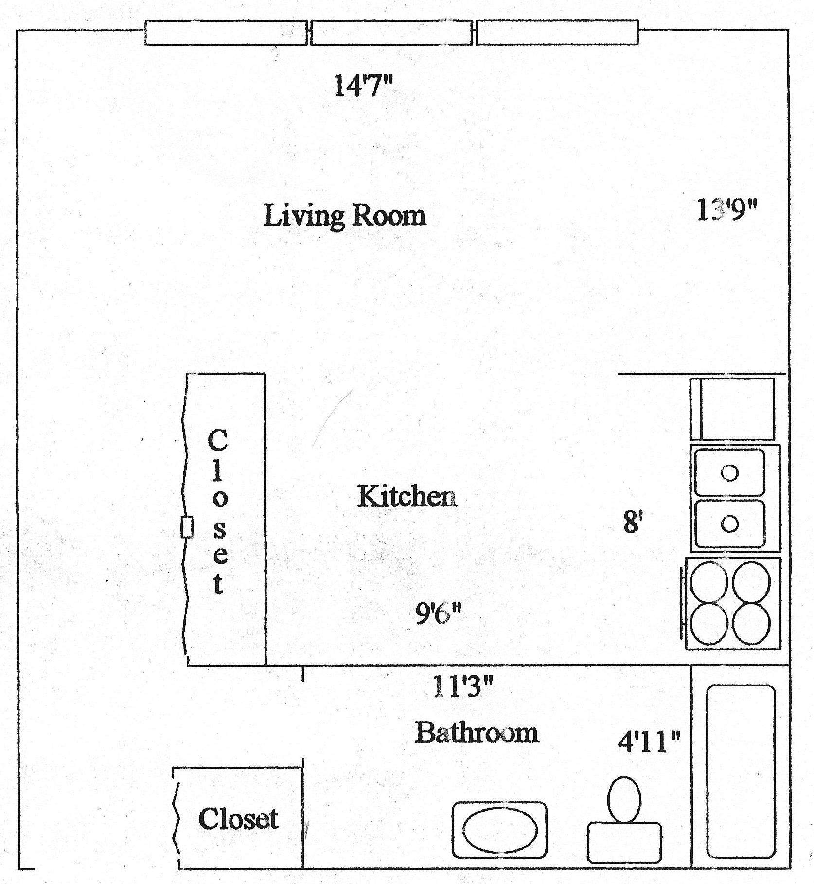 Pine meadows studio apartment studio apartment rentals for Studio apartment floor plans